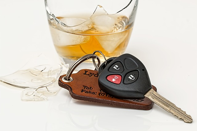 broken drink and car keys