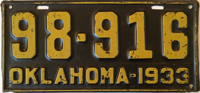old Oklahoma 1933 license plate